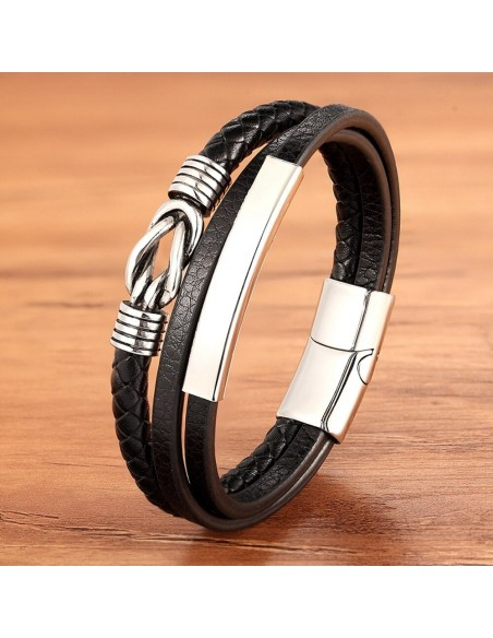 "Bracelet homme cuir multi-couches ""Casual géometric"""