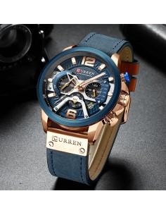 Montre à quartz homme «Vintage military» couleur bleue