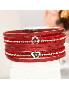 Bracelet multi-rangs femme «Red strass»