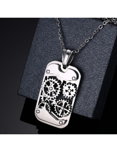 Collier pendentif homme «Silver gearing»