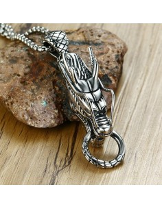 Collier pendentif homme «Silver dragon»